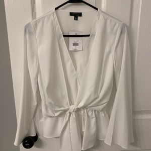 Topshop front tie white blouse